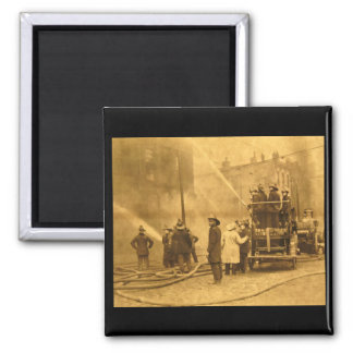 Fire Crew in Action - Vintage 2 Inch Square Magnet