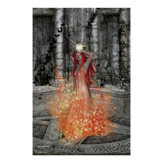 Fire Dancer Witch Fantasy Poster