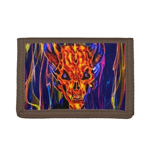 Fire Demon Devil Monster horror creep original art Trifold Wallet