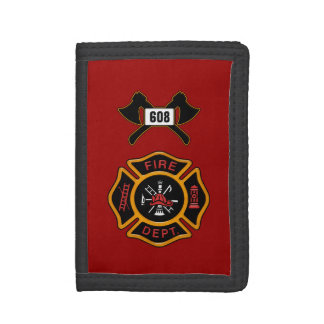 Fire Department Badge Fire Engine Red Trifold Wallet