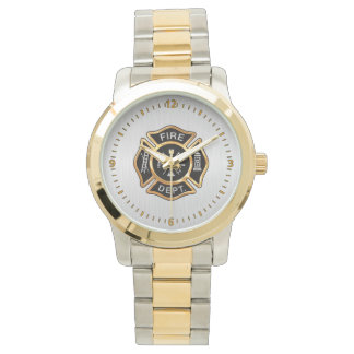 Fire Department Badge Gold and Silver Wrist Watch