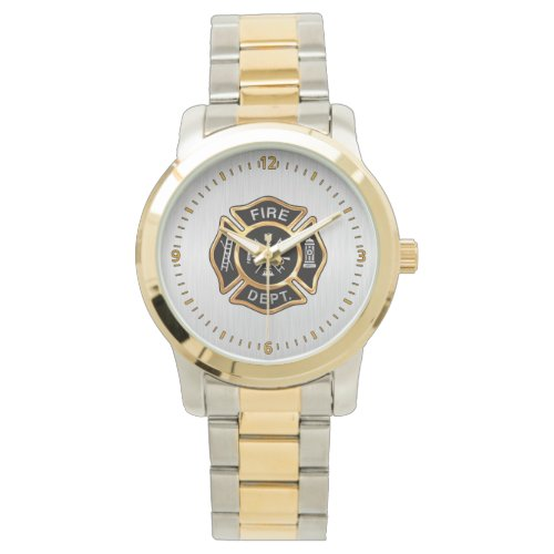 Fire Department Badge Gold and Silver Wristwatch