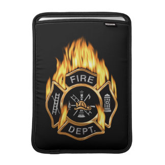 Fire Department Badge Gold Fire MacBook Sleeve