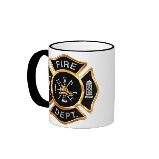 Fire Department Badge Gold Ringer Coffee Mug