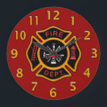 "Fire Department Badge Large Clock<br><div class=""desc"">Fire Department logo. Great for firemen and first responders. Click customize it to change the background color from fire engine red  to something else.</div>"
