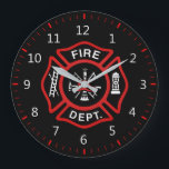 "Fire Department Badge Large Clock<br><div class=""desc"">Fire Department logo. Great firemen,  firefighters and first respondents. Customize it and add your name or call number something.</div>"