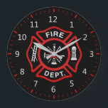 """Fire Department Badge Large Clock<br><div class=""""desc"""">Fire Department logo. Great firemen,  firefighters and first respondents. Customize it and add your name or call number something.</div>"""