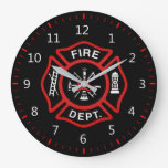 Fire Department Badge Large Clock<br><div class='desc'>Fire Department logo. Great firemen,  firefighters and first respondents. Customize it and add your name or call number something.</div>