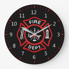 Fire Department Badge Large Clock at Zazzle