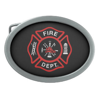 Fire Department Badge Red Oval Belt Buckle