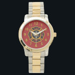 "Fire Department Badge Red Wrist Watch<br><div class=""desc"">Red and yellow Fire Department logo. Great for firemen and first responders.</div>"