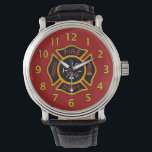 """Fire Department Badge Red Wrist Watch<br><div class=""""desc"""">Red and yellow Fire Department logo. Great for firemen and first responders.</div>"""