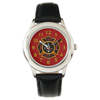 Fire Department Badge Red Wristwatch