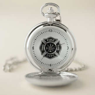 Fire Department Badge Silver Pocket Watch