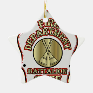 Fire Department Battalion Chief Shield Design Ceramic Ornament