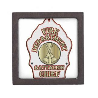 Fire Department Battalion Chief Shield Design Jewelry Box