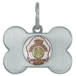 Fire Department Battalion Chief Shield Design Pet Tag