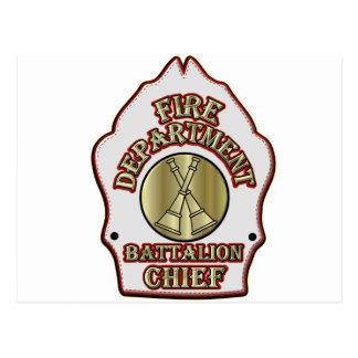 Fire Department Battalion Chief Shield Design Postcard