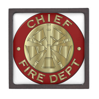 Fire Department Chief Brass Symbol Gift Box