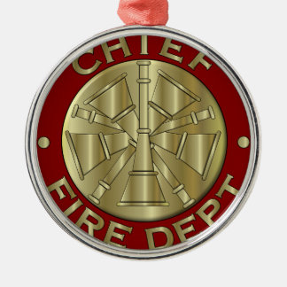 Fire Department Chief Brass Symbol Metal Ornament