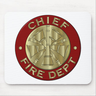 Fire Department Chief Brass Symbol Mouse Pad
