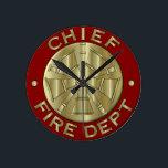 "Fire Department Chief Brass Symbol Round Clock<br><div class=""desc"">Fire Department Chief Brass Symbol</div>"