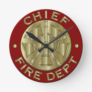 Fire Department Chief Brass Symbol Round Clock