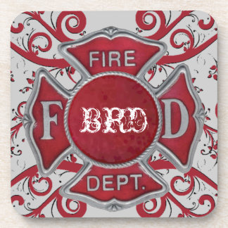 Fire Department Custom Monogram Beverage Coaster