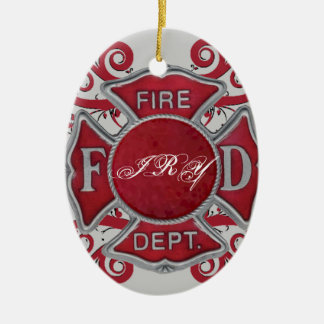 Fire Department Custom Monogram Double-Sided Oval Ceramic Christmas Ornament