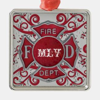 Fire Department Custom Monogram Metal Ornament