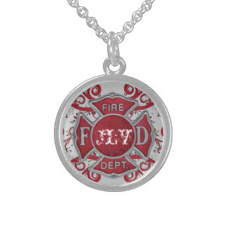Fire Department Custom Monogram Sterling Silver Necklace