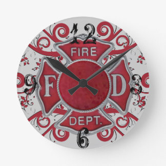 Fire Department Custom Monogram Round Clock