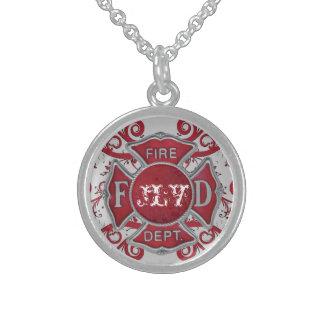 Fire Department Custom Monogram Round Pendant Necklace