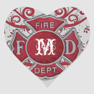 Fire Department Custom Monogram Heart Sticker