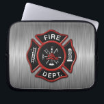 """Fire Department Deluxe Laptop Sleeve<br><div class=""""desc"""">Fire Department red logo badge on brushed metal looking texture print background. Great for firemen and first respondents.</div>"""