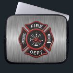 "Fire Department Deluxe Laptop Sleeve<br><div class=""desc"">Fire Department red logo badge on brushed metal looking texture print background. Great for firemen and first respondents.</div>"