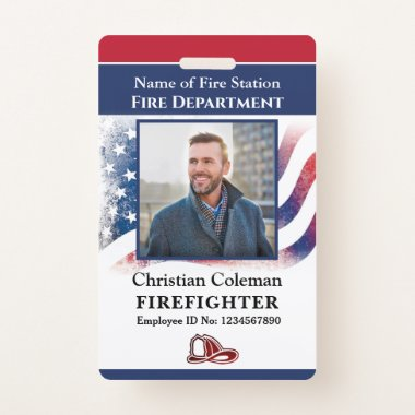 Fire Department Employee Firefighter Photo ID Card Badge