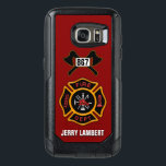 "Fire Department Firefighter Badge Name Template OtterBox Samsung Galaxy S7 Case<br><div class=""desc"">Fire Department logo with customizable numbers. Great for firemen and first responders. Click customize it to change the background color from fire engine red to something else. Personalize with your own name.</div>"