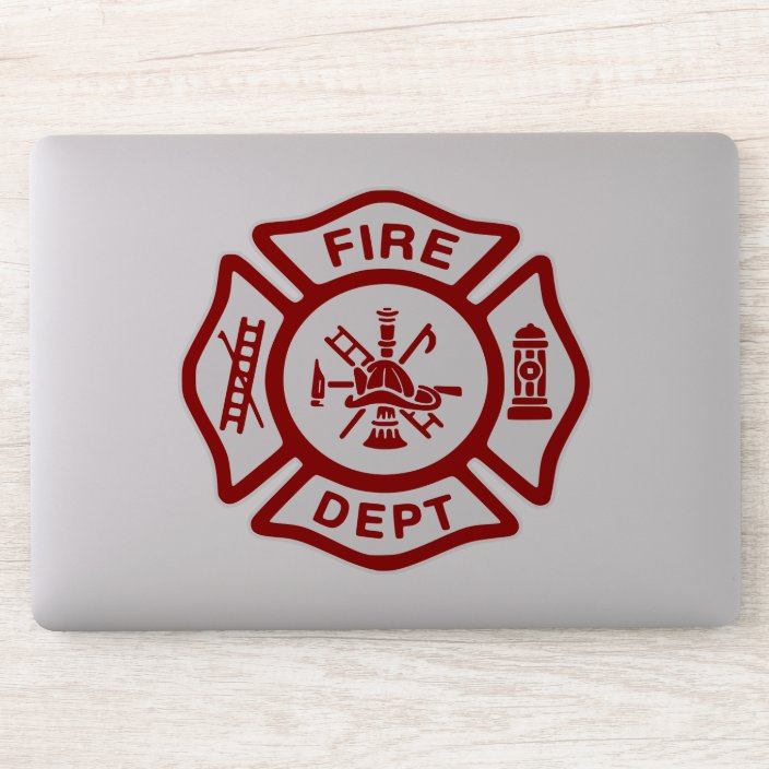 American Vinyl Red Volunteer Firefighter Maltese Shaped Sticker fire Fighter Fireman