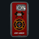 "Fire Department Firefighter Name Template OtterBox Samsung Galaxy S6 Case<br><div class=""desc"">Fire Department logo with customizable numbers. Great for firemen and first responders. Click customize it to change the background color from fire engine red to something else. Personalize with your own name.</div>"