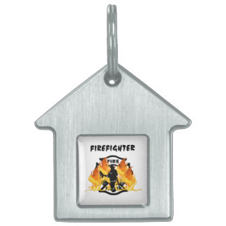 Fire Department Flames Pet Tag