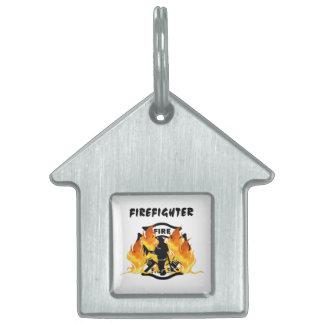 Fire Department Flames Pet Tag