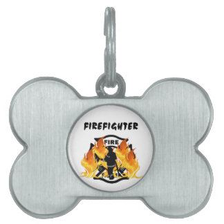 Fire Department Flames Pet ID Tag