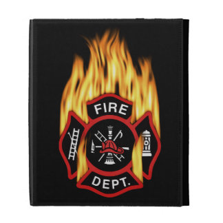 Fire Department Flaming Badge iPad Folio Cover