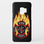 "Fire Department Flaming Badge Case-Mate Samsung Galaxy S9 Case<br><div class=""desc"">Red Fire Department logo with flaming fire. Great for firemen and first responders.</div>"