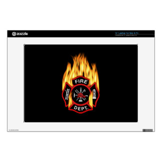 Fire Department Flaming Badge Laptop Decal