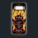 "Fire Department Flaming Badge OtterBox Commuter Samsung Galaxy S8 Case<br><div class=""desc"">Flaming red Fire Department logo. Great for firemen and first respondents.</div>"