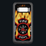 """Fire Department Flaming Badge OtterBox Commuter Samsung Galaxy S8 Case<br><div class=""""desc"""">Flaming red Fire Department logo. Great for firemen and first respondents.</div>"""