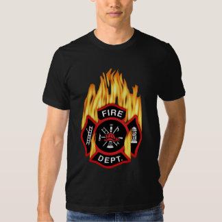 Fire Department Flaming Badge Tee Shirt