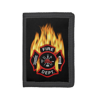 Fire Department Flaming Badge Trifold Wallets